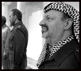 Yasser Arafat's wax alter-ego is socially shunned by Fidel Castro's wax alter-ego at Madame Tussaud's Wax Museum in New York