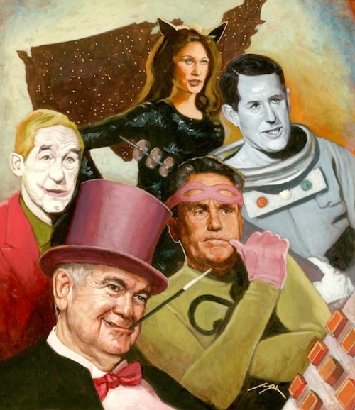 2012 GOP Presidential Candidates Channel the 1966 Batman Villains -- a masterpiece by artist Jon Stich (Click here to see more of Jon's work)
