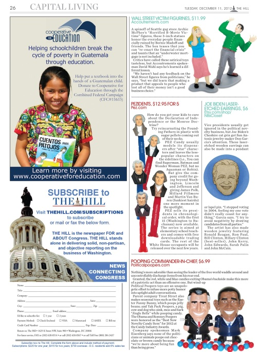 The 2012 Political Gag Gift Guide -- Part Two (Double click to enlarge)