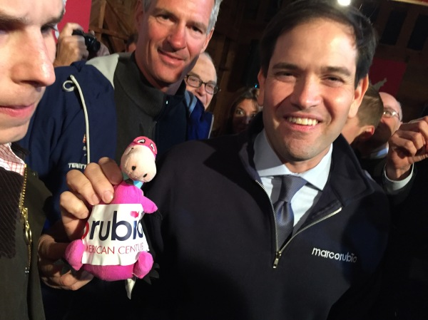 "U.S. Sen. Marco Rubio (R-FL) was one of many 2016 presidential candidates to participate in the ""Dinosaur Primary,"" my ambitious quest to photograph the next President of the United States with my favorite childhood cartoon. Sadly, Sen. Rubio did not recognize Dino Flintstone."